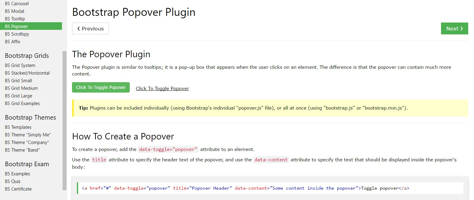 Bootstrap popovers  guide